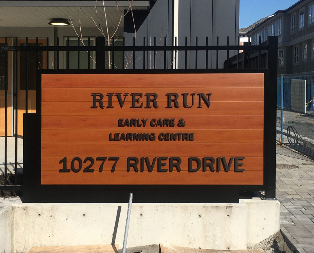 River Run early care & learning center entrance sign